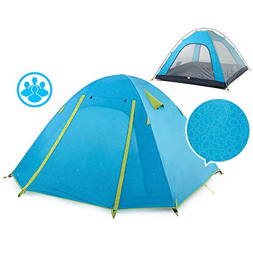 Qis.GH Waterproof Double Layer 2, 3, 4 Person 3 Season Aluminum Rod Double Skylight Outdoor Camping Tent, Double Layer Outdoor Tent Waterproof Windproof Anti-UV Rainproof,Blue,4 people
