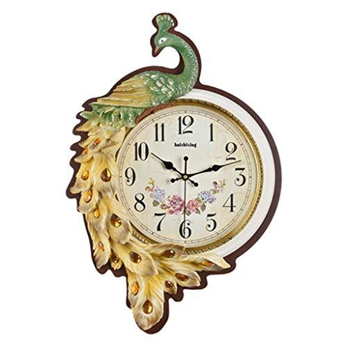 Style européen Salon Paon Calme Horloge Murale Personnalité Créative Maison Horloge À Quartz Performance Génération Mode Décoration Murale Horloge (Couleur : A)