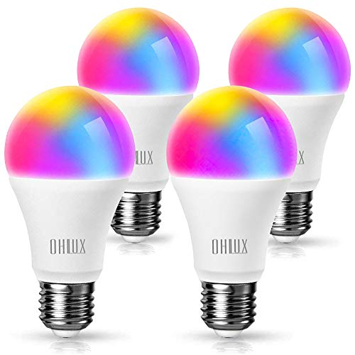 OHLUX Smart WiFi LED Light Bulbs Work with Alexa Google Home 900Lumen 100W Equivalent, RGBCW Multi-Color, 2700-6500k Dimmable,Voice Control 9W E26 A19 Color Changing Bulb-4PACK