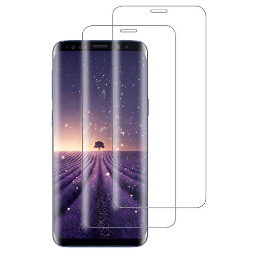 XSWO [2 Pack Galaxy S8 Premium Screen Protector, Tempered Glass Protective Film 3D Curved Full Coverage High Sensitivity Anti-scratch No-Bubbles 9H Hardness Toughened Glass for Galaxy S8 (Clear)