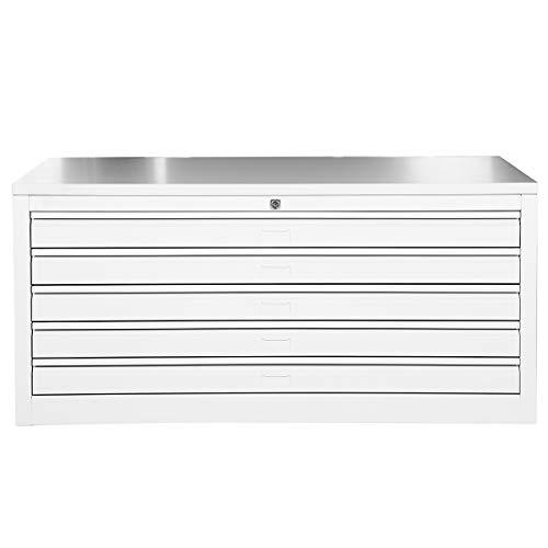 Certeo Flachablageschrank für DIN A1 | 5 Schubladen | HxBxT 53 x 113 x 83 cm | Holzabdeckplatte | Planschrank Grafikschrank Architektenschrank Zeichnungsschrank