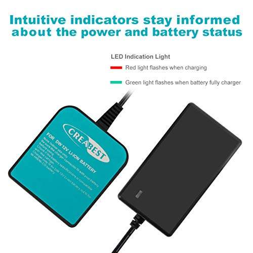 Creabest New 12V Charger Compatible with Dewalt 12V Li-ion Battery DCB120 DCB121 DCD710 DCF610 DCF815 DCL510 DCS310