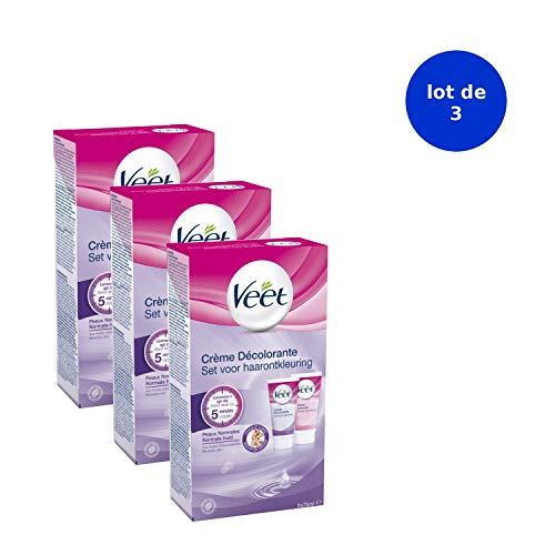 VEET Lot de 3 Crèmes Décolorante Visage et Corps 1 étui de 2 tubes de 75 ml