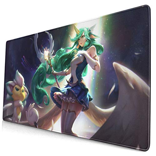 """Large Mouse Pad for League of Legends Soraka Star Guardians with Stitched Edges Gaming Mouse Mat Non-Slip Rubber Base Mousepad for Laptop,Computer,PC,Keyboard,11.8""""x23.6"""""""