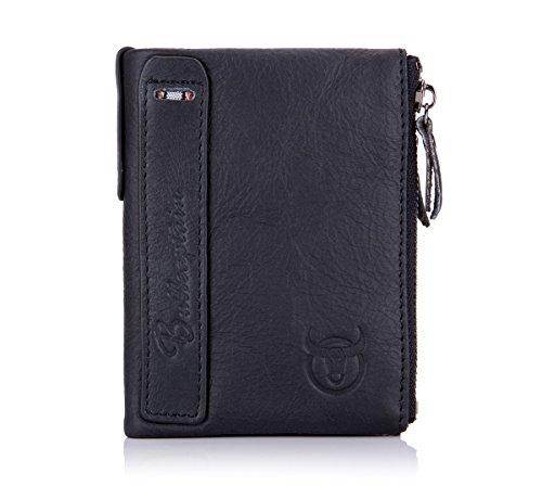 BULLCAPTAIN Genuine Leather Wallet for Men Vintage Bifold Double Zipper Coin Purse 1
