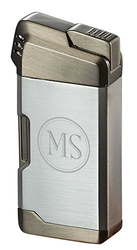 Personalized Visol Epirus Soft Flame Pipe Lighter with Free 2 Initial Engraving (Silver)