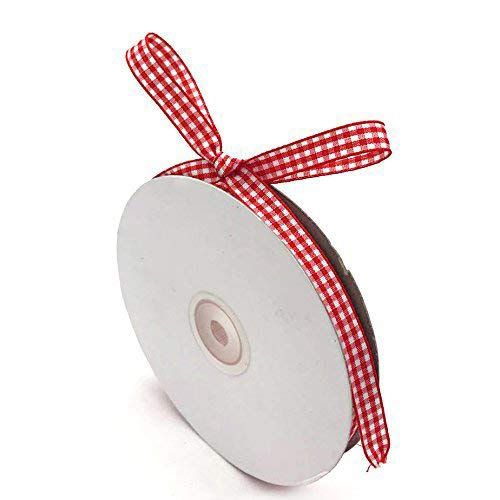 """Red Gingham Ribbon, 3/8"""" x 50Yd Picnic Craft Ribbon Red Ribbons for Hair Accessories Craft and Christmas Gift Wrapping"""