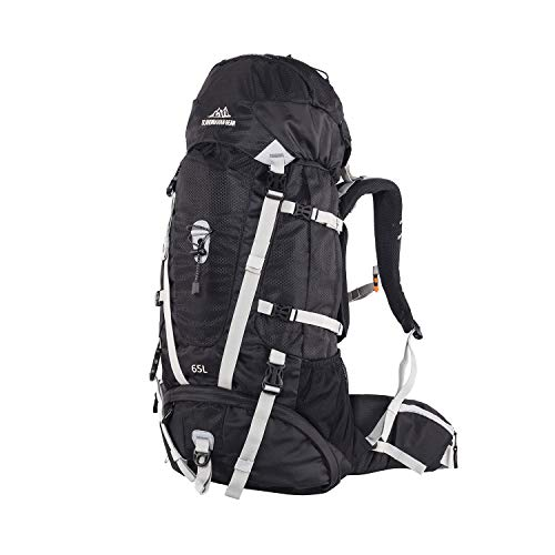 Hiking Backpack 65L Internal Frame Man, High-Performance Daypack for Camping Traveling Trekking, Sewn-in Rain Cover