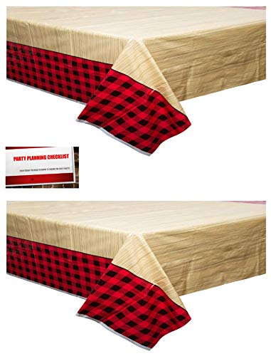 (2 Pack) Red Black Buffalo Plaid Lumberjack Picnic Plastic Table Cover 54 x 84 Inches (Plus Party Planning Checklist by Mikes Super Store)