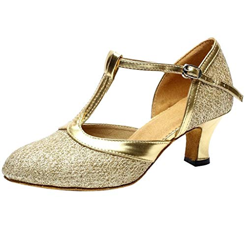 Damen T-Strap Pumps Standard Latein Tanzschuhe Mittelhohe mit Riemchen Geschlossen Knöchelriemen Weicher Boden, Tango Salsa Schuhe Elegante Schlüpfen Brautschuhe Celucke (Gold, EU39)