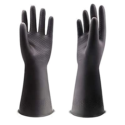 """UXglove Chemical Resistant Gloves,Waterproof Cleaning Protective Safety Work Heavy Duty Gloves,12.6"""",Black 1 Pair Size Large"""