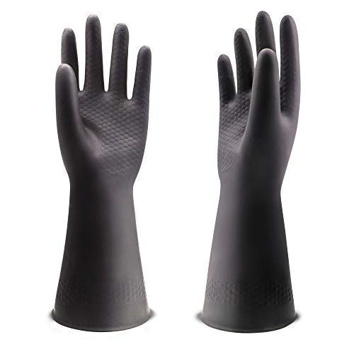 UXglove Chemical Resistant Latex Gloves,Cleaning Protective Safety Work Heavy Duty Rubber Gloves,12.6 ,Black 1 Pair Size Large