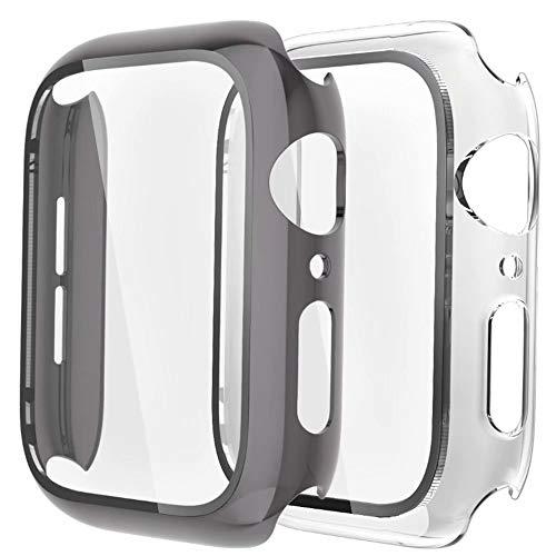 Fengyiyuda Hülle [2 Stück] Kompatibel mit Apple Watch Hülle 44mm mit Anti-Kratzen,Anti-Bläschen TPU Displayschutz Schutzfolie, 360°Rundum Schutzhülle Case für iWatch Series SE/6/5/4-Space Gray/Clear