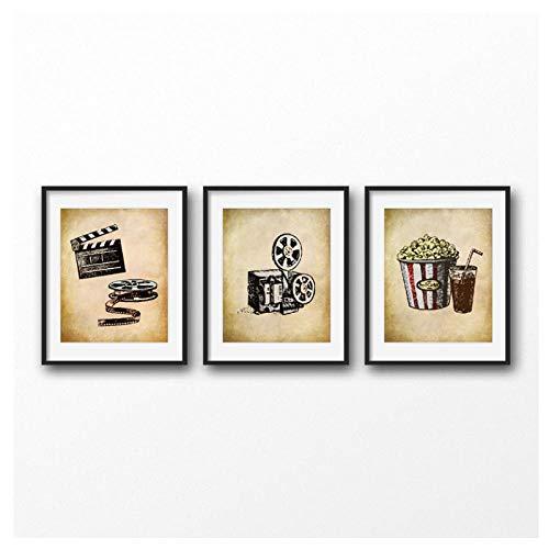 MULMF bioscoop vintage kunst canvas poster schilderij muurschildering film clapper print Home Bioscoop Retro Decoratie - 50X70Cmx3 geen lijst