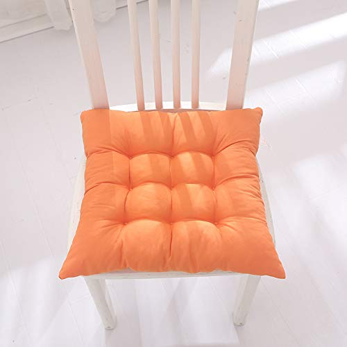 ENERGMiX Thickened Cushion Solid Color Chair Cushion Office Chair Cushion Student Stool Cushion Dining Chair Tatami Protection Cushion 40 * 40 9-pin positioning: solid color: orange