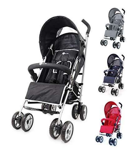 Buggy Kinderwagen Doppelschwenkräder Modell A801AL Große Farbauswahl, Farbe:Schwarz