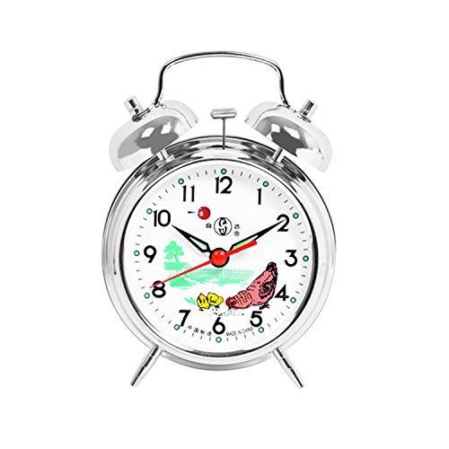 Cunluna Reloj despertador mecánico de viento con doble campana, diseño de gallo en color plateado