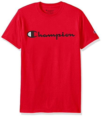 Champion Men's Classic Jersey Script T-Shirt, Athletic Red, L