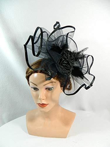 Fascinator schwarz gross Tüll Federn Anlasshut Damenhut Extravagant Ascot
