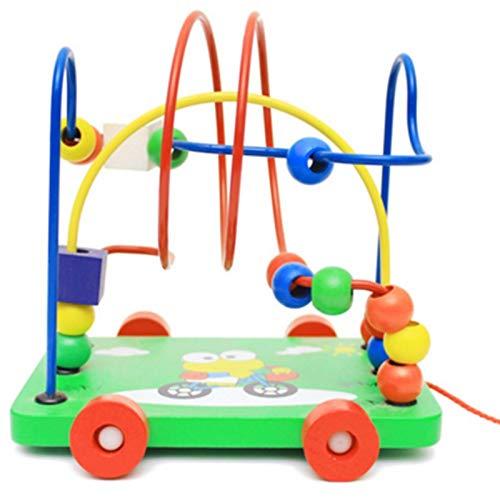 Juguete de laberinto de cuentas, juego de laberinto de cuentas de madera, juego de montaña rusa colorida, juguete educativo de desarrollo temprano para niños y niñas de 2 3 4 5 años