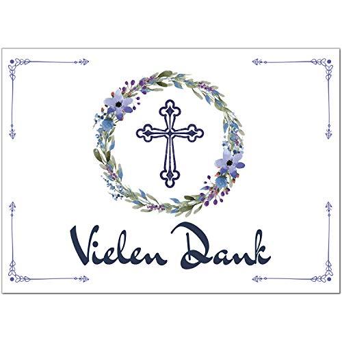 15 x Dankeskarten mit Umschlag - Blumenkranz mit Kreuz - Danksagung/Bedanken/Danke sagen zur Taufe, Kommunion, Konfirmation, kirchlich
