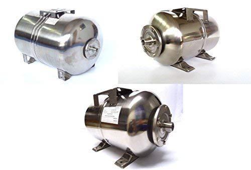 Roestvrijstalen INOX drukketel voor huiswaterinstallatie in drie verschillende maten 24,50 en 100 liter membraan ketel met 1 inch aansluiting en EPDM-membraan. 100 Liter