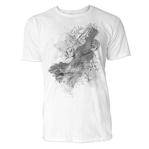 Wasserball Aufschlag Sinus Art ® Herren T Shirt (Schwarz Weiss) Sportshirt Baumwolle