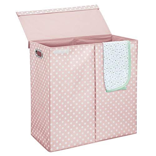 mDesign Moderno cesto para colada con tapa – Cestas para la colada extragrandes plegables y con asas – Cubos de ropa sucia para el baño con 2 compartimentos y diseño de puntos – rosa claro y blanco