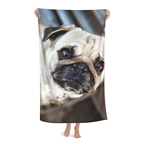 Toalla de playa de microfibra para mascotas de perro de pug 80 x 130 cm de secado rápido arena al aire libre viajes de natación manta de microfibra personalizada toallas de moda