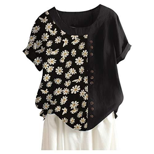 ELECTRI T-Shirt Femme à Manches Courtes Grande Taille Été Ample Casual Tee Shirt Top Col en V Imprimé Colorées Mode Blouse Haut