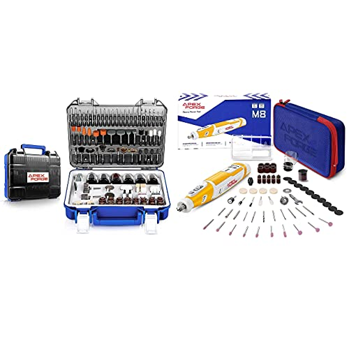 APEXFORGE Rotary Tool Accessories Kit with 8V Cordless Rotary Tool Yellow