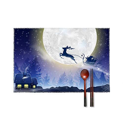 Doinh Santa Claus - Juego de 4 manteles Individuales con diseño de Papá Noel y Ciervos en un Trineo para Navidad, Resistentes a Altas temperaturas, Antideslizantes, Lavables, aislantes, de cartón
