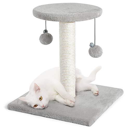 rabbitgoo Poste Rascador para Gatos, Rascador para Gatos de Altitud 43CM, Torre Pequeña con Percha de Sisal y Felpa Y Bola Juguete Colgante, Poste para Gato Escalar & Descansar,40X40X43CM