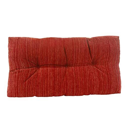 Klear Vu Chenille Fabric Tufted Gripper Non Slip Overstuffed Bench Pad Cushion, 27', Red