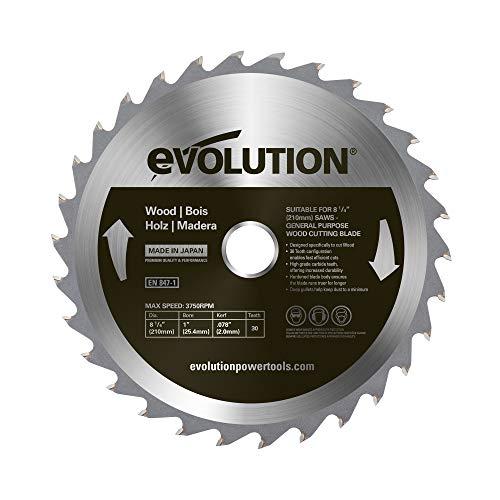 Evolution Power Tools – construire Rageblade210wood Evolution 210 mm Bois Tête en carbure Lame, 0 V, Multi, 210 mm