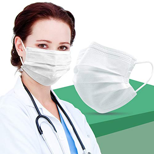 𝙈𝙖𝙨𝙠𝙨 𝙛𝙤𝙧 𝘾𝙤𝙧𝙤𝙣𝙖𝙫𝙞𝙧𝙪𝙨 𝙋𝙧𝙤𝙩𝙚𝙘𝙩𝙞𝙤𝙣, White Face Mask Box of 50, 3 Ply Breathable 3D Paper Mask Anti Fog with Nose Wire and Elastic Ear Loops