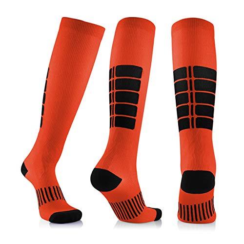 3 Para Antifatigue Unisex Kompressionsstrümpfe Strümpfe Kompression Compression Socks Medizinische Krampfadern Bein Relief Schmerzen Orange Groß