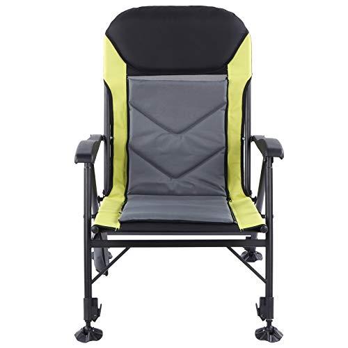 Cikonielf - Silla de camping plegable con marco de acero resistente – Respaldo 0-170 grados ajustable – 104,5 x 77 x 63,5 cm – Carga 210 kg