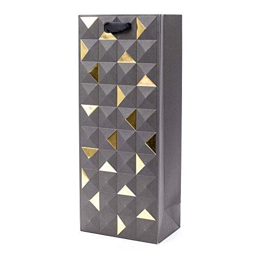 Hallmark Signature Bottle Gift Bag (Black and Gold Geometric Emboss) for Christmas, Thanksgiving, Hanukkah, Retirements, Housewarmings, Graduations and More