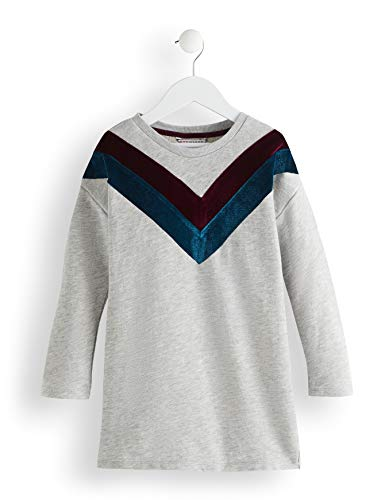 Amazon-Marke: RED WAGON Mädchen Kleid Sweater Velvet Detail, Grau (Grey), 104, Label:4 Years