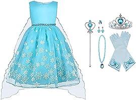 Vicloon Elsa Costume, Set da Principessa Elsa Corona Bacchetta Guanti Treccia, Ragazze Elsa Principessa delle Neve Abiti...