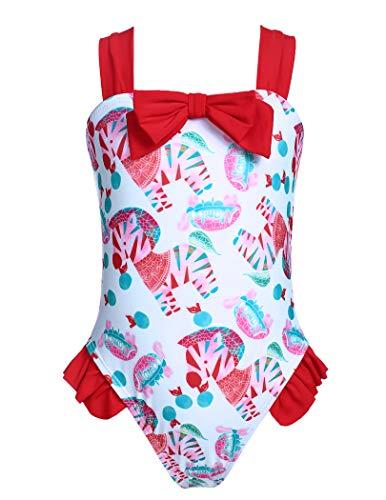 Arshiner Mädchen Badeanzüge Einteiliger Blume Schwimmen Badeanzug Bademode Kinder mit Rüsche Hawaiianisch Beach Badebekleidung Sportbadeanzug Weste 1/120