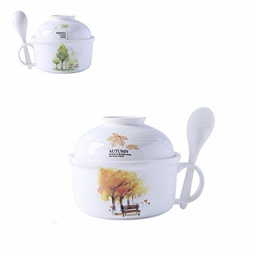 Boîte à Lunch en Céramique Boîte à Lunch Pour Micro-Ondes Bol à Riz Bol en Porcelaine Nouilles Bol à Tasse Couvercle Bol à Soupe Cuillères à Cuillère,C,6 pouces