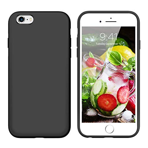 YINLAI iPhone 6S Plus Case Slim,iPhone 6 Plus Case Silicone, Drop Protection Non Slip Grip Soft Rubber Protective Cover Hard Back Durable Girly Phone Cases for iPhone 6S Plus/6 Plus(5.5 inch),Black