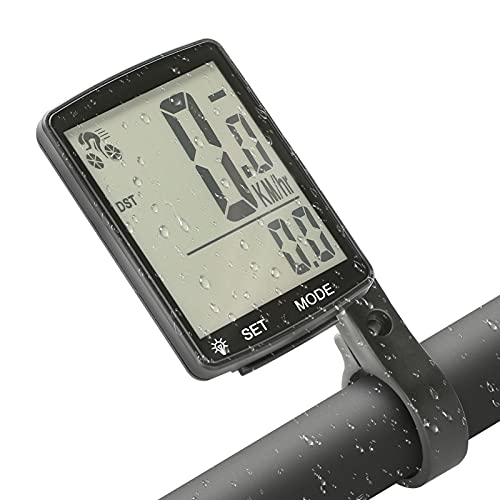 Wikay Bicycle Computer Wired IP65 Waterproof Cycling Computer Multifunctional Bike Speedometer Odometer with 2.8'' Large Backlight LCD Display Automatic Wake-up for Road Mountain Bike MTB