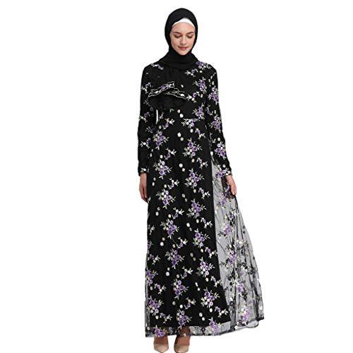 Masoness Sommer-Frauen-populärer Blumendruck-moslemisches Elegantes Maxi-Kleid beiläufige Islam-Lange Robe