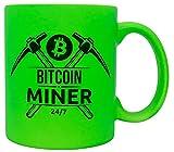 vanVerden Taza de neón con texto – Bitcoin Miner 24/7 – Kryptowährung BTC Crypto Cash Mining Blockchain – Impresión por ambos lados – Idea de regalo taza de café, color verde neón
