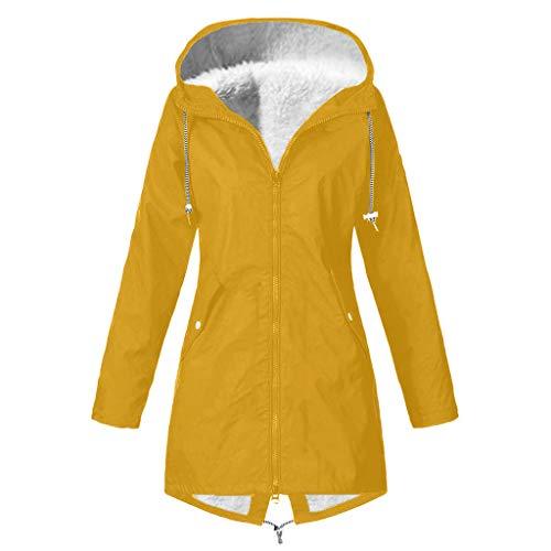 Preisvergleich Produktbild DNOQN Frauen Solide Winter Warm Dick Draussen Übergröße Mit Kapuze Regenjacke Winddicht Gelb S
