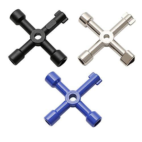 IWILCS 3 stuks 4-weg multifunctionele gereedschap sleutels, voor elektrisch water gas meter box kast openen sleutels, elektrische kastsleutels (zwart, blauw, zilver)