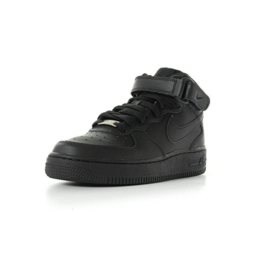 Nike Zapatillas de Baloncesto AIR FORCE 1 MID (GS), Infantil, Negro (004 BLACK/BLACK), Talla 37.5